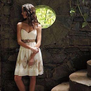 Anthropologie gold and cream dress. Sz 14. Worn 1x